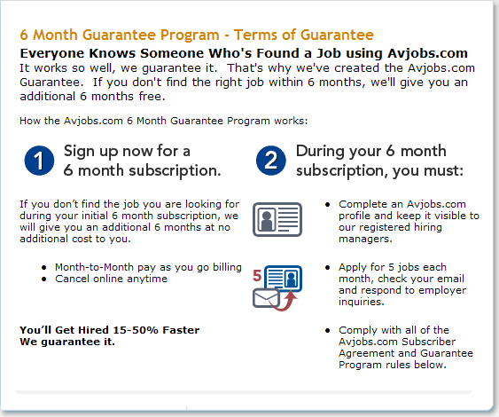We know you'll have access to tons of great jobs during your first 6-months of service with us. But, if you don't find the right fit during that time, we'll give you an ADDITIONAL 6 months to continue your search and help employers find you. Check out the rules, then get out there and start working today!