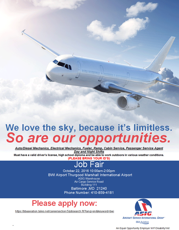 BWI Job Fair  October 22 2016 Job Fair Flyer