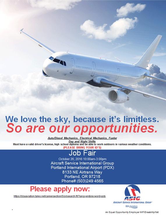 PDX Job Fair  October 22 2016 Job Fair Flyer